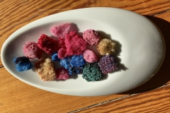 Teilweise hatten sich auch ohne Pfeifenreiniger-Kern kleine Kristallbrocken gebildet, sie sind etwa 2 cm lang. Sehr dekorativ!