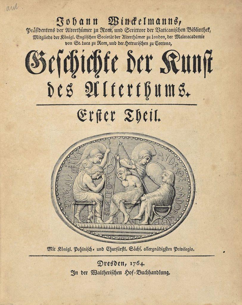 Titelblatt des Hauptwerks von Winckelmann von 1764 mit einem Kupferstich des Stosch'schen Steins von Johann Adam Schweickart als Titelvignette