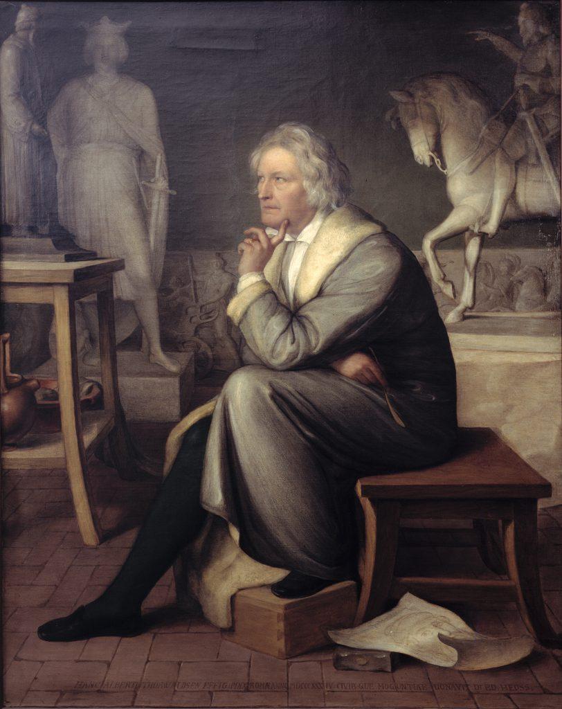 Eduard von Heuss (Oggersheim (Pfalz) 1808-1880 Bodenheim am Rhein), Thorvaldsen in seinem Atelier, 1834, Öl/Leinwand