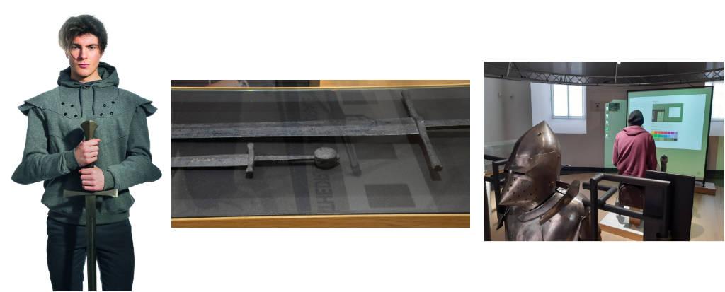 Ein sportlicher Rollenspiel-Teilnehmer blickt uns an – ein Schwert ist und bleibt aber ein Schwert. Rechts wird der moderne Turnierplatz vorbereitet. Bildnachweis © Museon, The Hague / © GDKE RLP, LMMZ, Ursula Rudischer / © GDKE RLP, LMMZ, Krisztina Péró