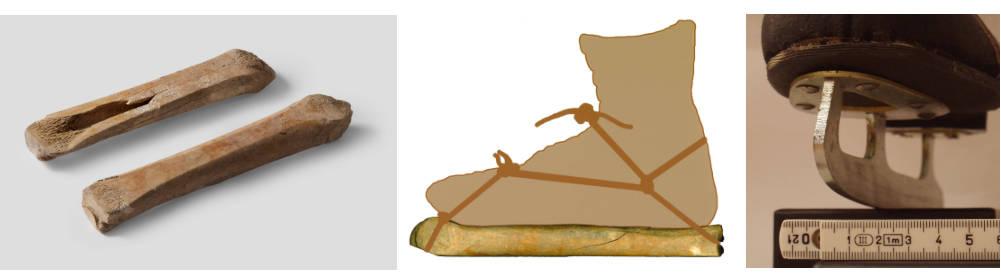 Schlittknochen, ihre Befestigung am mittelalterlichen Schuh und ein moderner Schlittschuh im Vergleich. Bildnachweise: © GDKE, LA-Speyer, P. Haag-Kirchner / © GDKE, LA-Speyer, J. Winkelmann / Von Lord van Tasm - Eigenes Werk, CC BY-S 3.0,https://commons.wikimedia.org/w/index.php?curid=67435167