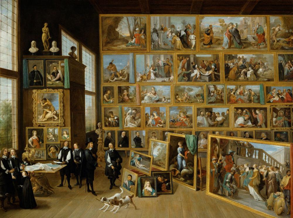 David Teniers d. J. (1610 Antwerpen - 1690 Brüssel), Erzherzog Leopold Wilhelm in seiner Galerie in Brüssel, um 1650, Kunsthistorisches Museum, Wien – Unter der Entourage des Erzherzogs ist auch sein Hofmaler David Teniers selbst abgebildet, die erläuternd gestikulierende Person ganz rechts.