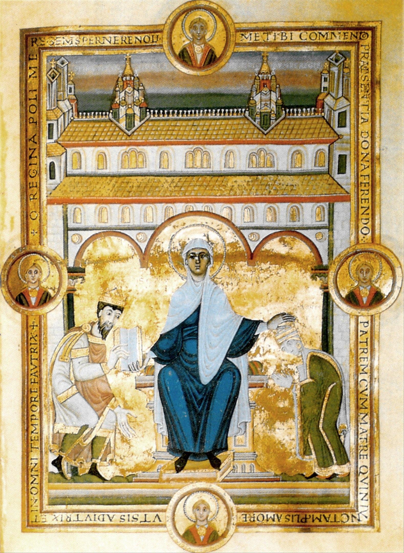 Codex Aureus Spirensis, Dedikationsbild mit Heinrich III. und Agnes von Poitou, 1043-1046, Standort: El Escorial, Real Biblioteca, © Wiki Commons