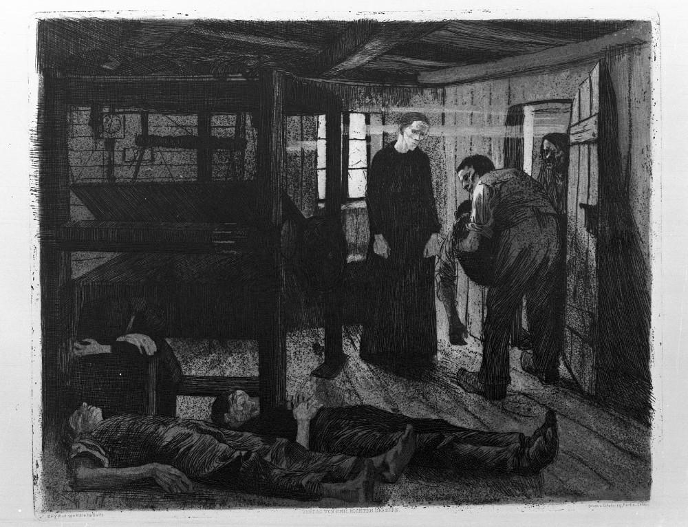 """Käthe Kollwitz, Ende, 1897, Blatt 6 aus der Folge """"Ein Weberaufstand"""" © Landesmuseum Mainz, Foto: Ursula Rudischer"""
