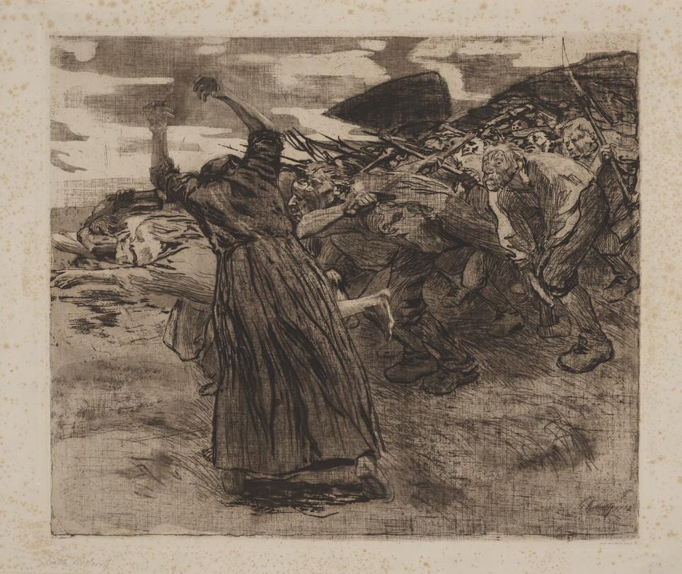 "Käthe Kollwitz: Losbruch, 1903, Blatt 5 aus der Folge ""Bauernkrieg"" © Kunstmuseum Moritzburg Halle (Saale)"