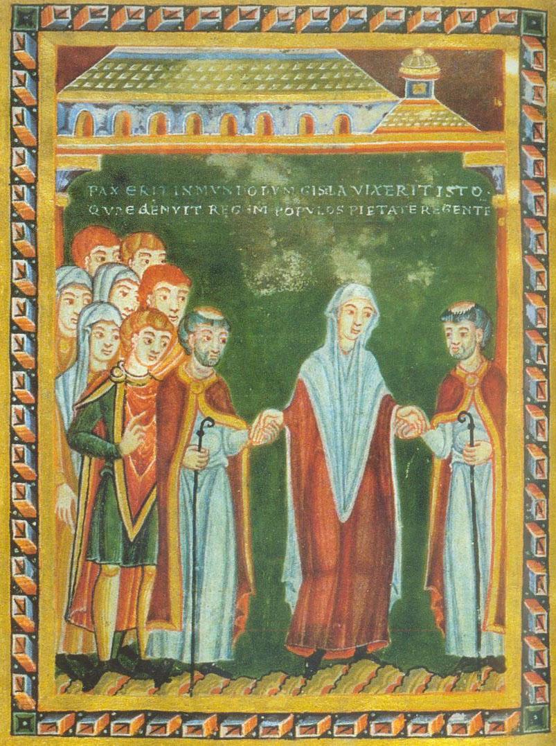 Kaiserin Gisela beim Eintritt in die Kirche. Echternacher Perikopenbuch, 1039-1043. Standort: Bremen, Universitätsbibliothek b. 21, folio 3r. © Wiki Commons
