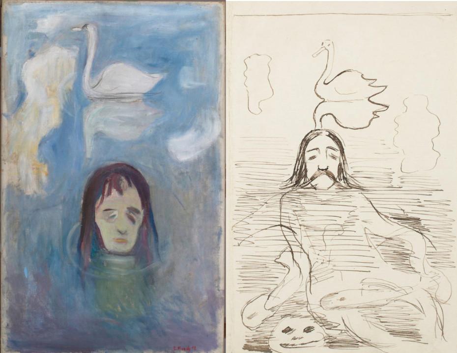 Edward Munch: Vision, 1892 / Vision, Zeichnung für Illustration, 1892-1893 © Munchmuseet